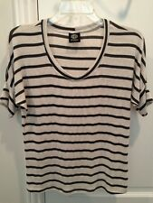 Bobeau Women's Striped Blouse Size Medium Petite Gray