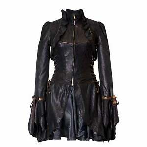 Ladies Zebra Print Leather Dress Coat with Ruffles and Corset Bodice
