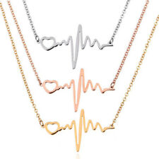 """Heartbeat Pendant Necklace -Adjustable 18"""" Chain Set of 3 - 316L Stainless Steel"""
