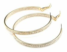 Zest Hoops with Double Clear Crystals Earrings for Pierced Ears Golden
