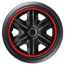 """4x Wheel Covers Hub Caps 16Inch Universal Wheel Trims ABS 16"""" Trim [LUX Red]"""