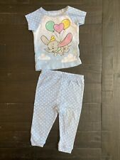 Infant Toddler Baby Girl Dumbo Pajamas, Pants And Short Sleeve, Blue White Polka