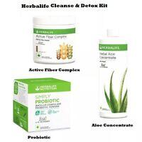 HERBALIFE Cleanse & Detox Kit- Aloe Drink+Probiotic+Active Fiber