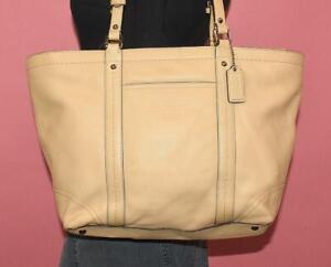 COACH Beige Leather GALLERY E/W Tote Shopper Shoulder Bag Purse 13098