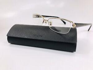 ⭐️ New Prada VPR 64N ZVN-1O1 TITANIUM Gold & Havana Eyeglasses 54mm with Case