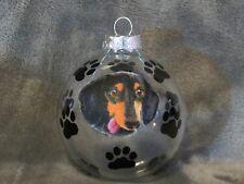 """Hand Made Dachshund Dog 3"""" Glass Christmas Ornament/Ball"""