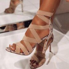 Women's Cross Strap Sandals Snakeskin Stiletto Heels Ladies Open Toe Party Shoes