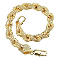 """Iced Simulated Diamond 14K GP Gold 10mm 8.5"""" French Solid Rope Bracelet"""