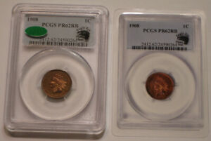 1908 Indian Head Cent PCGS PR 62 RB CAC Green Sticker EAGLE EYE PHOTO SEAL