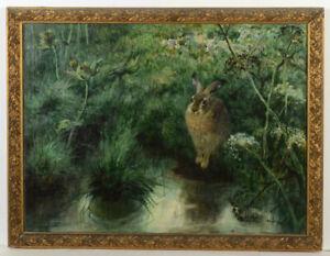 "Curt Meyer-Eberhardt (1895-1977) ""Rabbit at pond"", oil on canvas, 1920/30s"