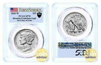 2020 W $25 Burnished Palladium Eagle PCGS SP70 First Strike First Day of Issue