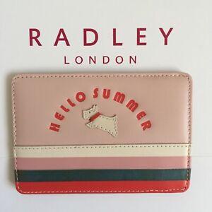 RADLEY Hello Summer Blush Pink Leather Travel Card Holder with Dust Bag - BNWT