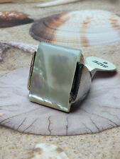 GENUINE MOTHER OF PEARL  BEAUTIFUL BIG WHITE STONE  WOMEN'S  SILVER RING  size 7
