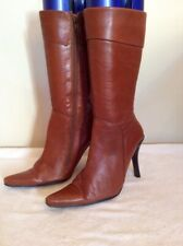 LOGO 69 TAN LEATHER CALF LENGTH BOOTS SIZE 5/38