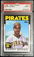 1986 Topps Traded #11T Barry Bonds Rookie Card PSA 9 Mint Pirates Baseball RC