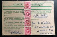 1941 British Forces Egypt Censored OAS Airmail Cover To Leicester England