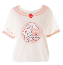 TP-133 Hase Rabbit Ice Cream Strawberry Erdbeer Weiß Rosa T-Shirt Pastel Kawaii