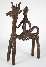 African tribal bronze sculpture. Senufo / Dogan rider and double headed horse.