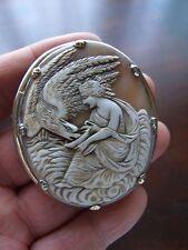 Antique Victorian Goddess Hebe Cameo Silver Brooch