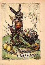 Ostern, Hase mit Schubkarre, Eier, Küken, ca. 40er Jahre