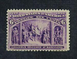 CKStamps: US Stamps Collection Scott#235 6c Columbian Mint H OG