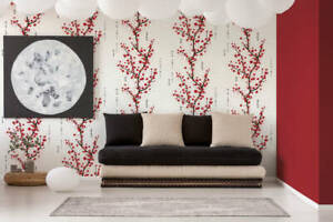 Oriental Japanese Chinese Cherry Blossom White Red Black Trees Floral Wallpaper