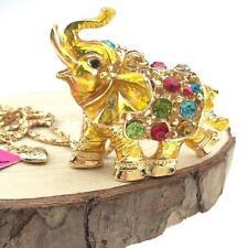 Fashion Betsey Johnson Pendant Jewelry Gold Elephant Chain Rhinestone Necklaces