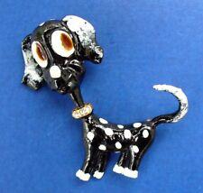 BUY1&GET1@50%~Original by Robert PIN Vtg DOG Enamel Rhinestone B&W Brooch