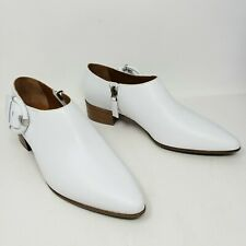 Aquatalia Ferry White Leather Shootie Boots Booties Ankle Buckle Womens 9 New