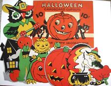 "Vintage ""Halloween"" Envelope w/ 5 Halloween Card Stock Decorations *"
