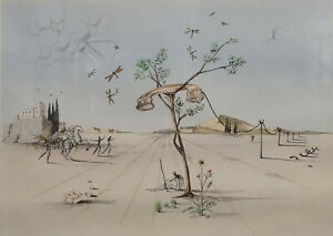 Salvador Dali / Die Bäume antworten nicht mehr - handsigniert mit Goldauflage