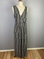 Blue Illusion Womens Size M Maxi Polka Dot  V - Neck Dress
