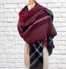 Womens Large Square Blanket Scarf Shawl Wrap Red Blue Check Boucle Look