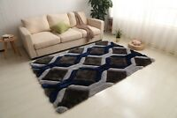 3D VIENNA DESIGN RUG SMALL AND LARGE GREY NAVY BLUE THICK SOFT DENSE PILE NEW