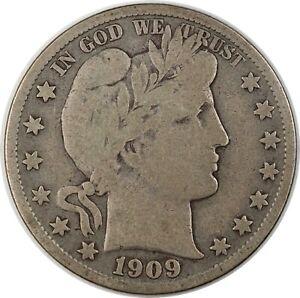 1909-S United States Barber Half-Dollar 50c - F Fine Condition