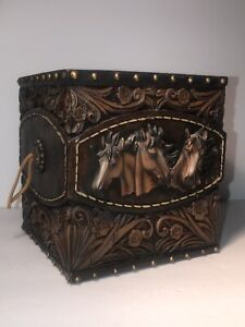 Horse Tooled Concho Tissue Box Holder Cover Dispenser Rustic Cabin Ranch Vanity