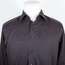 Eton Contemporary Fit Dark Gray/Orange Striped Dress Shirt 16 (EUR 41)