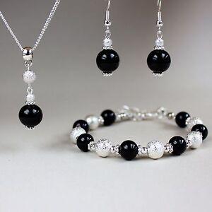 Black pearl necklace bracelet earrings silver wedding bridesmaid jewellery set