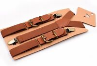 Tan Brown Elastic Leather Suspenders Braces For all ages