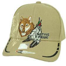 Indien D'Amérique American Pride Lone Wolf Kaki Plume Chapeau Animal Casquette