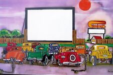 Hot Rod Drive In Movie Art Print Street Flathead Godzilla Personalize Gift Ford