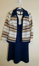 VINTAGE WOMEN'S 70'S DRESS WITH MATCHING JACKET Size 12 NAVY BLUE