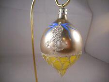Teardrop Mercury Glass Christmas Ornament Glitter Silver Bell Finial Gold