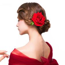 2PCS Red Rose Flower Hair Stick Hairpins Headwear Bride Hair Clip Wedding Women