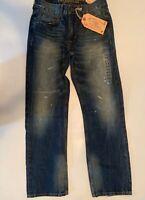 Men's American Eagle Vintage Tinted Repair Original Straight  Blue Jeans 26x28