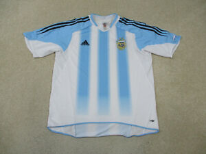 Adidas Argentina Soccer Jersey Adult Large Blue White Futbol Football Mens A94*