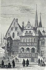 Antique print rathaus Halberstadt Harz Germany  1867