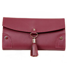Plum Leather Jewelry Travel Bag with Silver Tassel Closure TS10774BUR