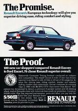 1986 Renault Encore - Promise - Classic Vintage Advertisement Ad D24