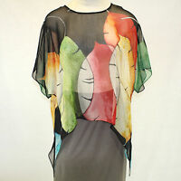 NEW Cocoon House Wearable Art Black Luscious 100% Silk Pointed Top Large/XL